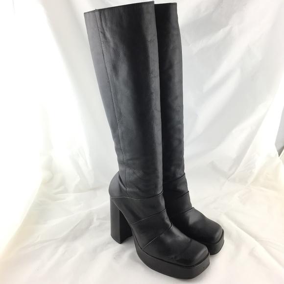 Knee High Platform Boots Black Leather